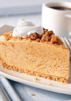 Streusel-Topped Pumpkin Pie. This no-bake pumpkin pie, made with cheesecake pudding mix, is spiced just right.