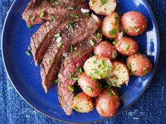 Grilled Flank Steak with Mustardy Potato Salad  - Delish.com