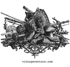 Medieval Vector: Armor & Weapons Decorative Graphic