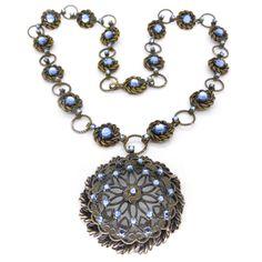 Vintage 1940s Blue Vauxhall Glass Panel Necklace | Clarice Jewellery