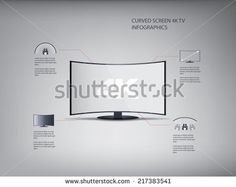 4k ultra hd curved screen tv infographics in modern flat design with icons. Eps10 vector illustration. - stock vector