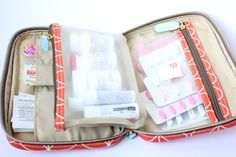 Traveling Pharmacy ~ Love the idea of this super functional Orla Kiely cosmetic bag for travel first aid kit.