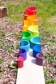 Super Simple DIY Semicircles and Planks for Extra Rainbow Fun - MamaMeganAllysa Rainbow Wood, Rainbow Rice, Simple Diy, Super Simple, Easy Diy, Wooden Building Blocks, Small World Play, Sensory Bins, Scroll Saw