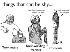 things that can be shy, tory voters, knife wielding maniacs and coconuts