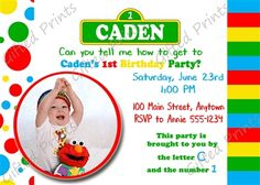 Birthday Invitation, Sesame Street Theme.  These birthday invitations are custom, high resolution digital files that are personalized for each customer upon order.