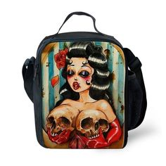 Women Skull Print Cooler Insulated Thermal Lunch Bag Box Food Container School #BIGCAR