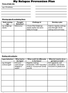 Relapse Prevention Plan - Worksheet. For eating disorders, but could easily be tweaked for other issues.