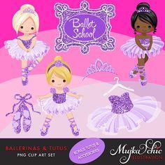 Bailarinas y tutús púrpura brillo Clipart con lindos por MUJKA