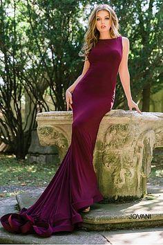 63c92b21e92 Burgundy Low Back and High Neck Long Dress 37592  Jovani  RedPromDress   Prom2018 Cut