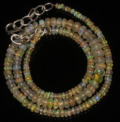 """43 Ctw 1Necklace 2to6mm 16"""" Beads Natural Genuine Ethiopian Welo Fire Opal 95310"""