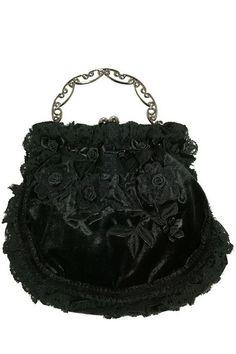Black Velvet and Rose Evening Purse Bag