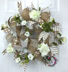 Mesh Burlap Wedding Wreath -Hydrangea Spring Wreath - Spring Door Decor by www.southerncharmwreaths.com #burlap #wedding #wreath