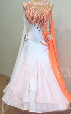 Woman Ballroom Standard Waltz Tango Dance Dress US 8 UK 10 Skin Orange White