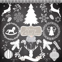 Vector Christmas Cliparts Vintage christmas от 1burlapandlace