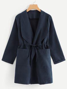 Dual Pocket Drawstring Waist CoatFor Women-romwe Pop Fashion, Hijab Fashion, Womens Fashion, Fashion Trends, Fashion Coat, Plus Size Street Style, Coats For Women, Clothes For Women, Mode Jeans