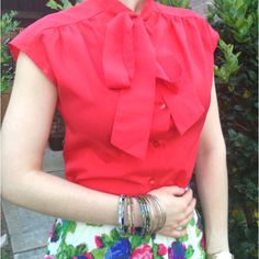 Red bow blouse with a floral skirt!