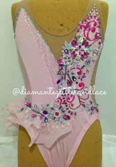 Pretty in pink!!! Pink Lycra and sparkly pink Lycra with lace, glitter, diamantes and stones x