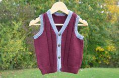 Merino wool waistcoat hand knitted burgundy silver by NannySayers