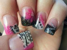 Pink n blk nails