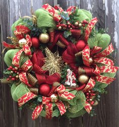 Christmas Wreath Christmas Mesh Wreath Holiday by BaBamWreaths