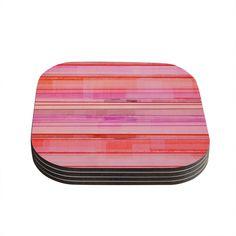 "CarolLynn Tice ""Starwberry Shortcake"" Pink Stripes Coasters (Set of 4)"