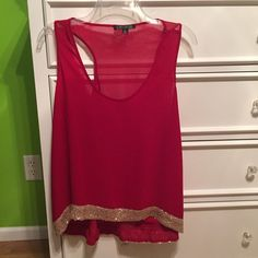 Red and gold tank top NEVER WORN!!! Dressy tank top, red with gold bottom lining! Great for wearing under blazers, cardigan, etc. Tops Tank Tops