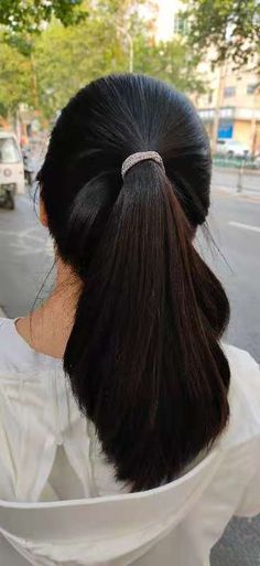 Long Hair Ponytail, Braided Ponytail, Ponytail Hairstyles, Cool Hairstyles, Indian Hair Cuts, Hair Up Styles, Big Bun, Pony Tails, Cut My Hair