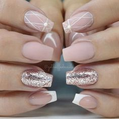 """If you're unfamiliar with nail trends and you hear the words """"coffin nails,"""" what comes to mind? It's not nails with coffins drawn on them. Although, that would be a cute look for Halloween. It's long nails with a square tip, and the look has. Matte Nails, Diy Nails, Glitter Nails, Pink Glitter, Gold Nails, Acrylic Nails, Blush Nails, Glitter Lipstick, Glitter Dress"""