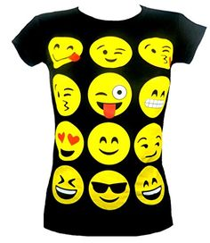FASHION OASIS KIDS CHILDREN'S GIRL'S EMOJI EMOTICONS MULTI FACES SHORT SLEEVE T-SHIRTS TOPS AGES 7/8, 9/10, 11/12 & 13 (AGE 9/10, BLACK)