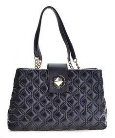 Black Elena Astor Court Leather Shoulder Bag #zulily #zulilyfinds
