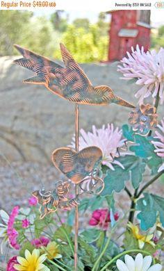 SALE Hummingbird With Butterfly Garden Stake / Metal Garden Art / Copper Art / Bird Sculpture Outdoor Metal Art / Hummingbird Gift / Spike