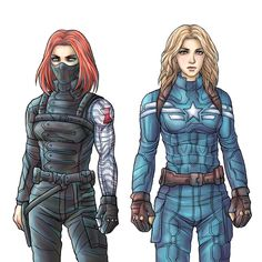 it's basically Natasha as the Winter Soldier and Sharon Carter as the Cap. Bucky has black or dark brown hair so it must be Natasha and Sharon Peggy Carter, Sharon Carter, Bucky Barnes, Marvel Dc Comics, Marvel Avengers, Geeks, Bucky And Steve, Bucky And Natasha, Halloween Disfraces