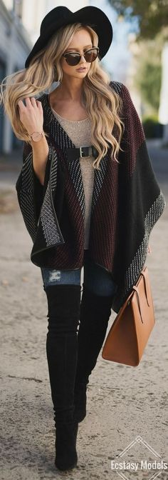 amazing fall outfit / hat + poncho + top + rips + bag + over the knee boots