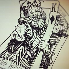 Artist unknown. This is a funny illustration of the two Kings and breaks the flat plane cards usually have. Really well drawn line work.