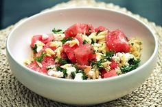 Watermelon Feta Orzo Salad - Lonely Wife Project blog