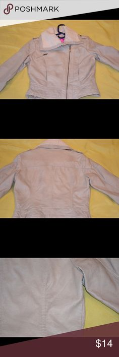 ❤NWOT Faux fur & faux leather light weight jacket❤ This is a medium, Red Envelope brand, khaki/tan coat with an off white faux fur trim around neck and cuffs. It has sort of a worn look on the shell. See pictures. NWOT. Super cute coat! Jackets & Coats