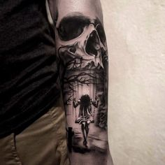 Beautiful one! #skulltattoo #thightattoo #forearmtattoo