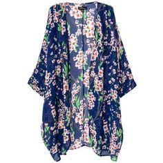 Jollychic Women's Light Loose Floral Print Chiffon Sheer Kimono... ($8) ❤ liked on Polyvore featuring tops, kimonos, cardigans, shirts, outerwear, sheer floral kimono, floral kimono top, kimono top, chiffon kimono and kimono shirt