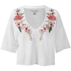 Sans Souci White  floral choker cropped top (74 PLN) ❤ liked on Polyvore featuring tops, white, white top, cut-out crop tops, boxy top, crop tops and cutout tops