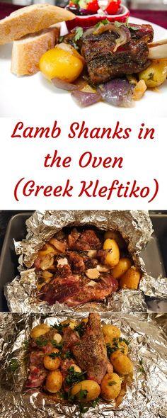 Greek Roasted Lamb with Potatoes (Kleftiko) - SocraticFood - greek food - Greek Recipes Lamb Shanks Oven, Roasted Lamb Shanks, Greek Recipes, Meat Recipes, Italian Recipes, Cooking Recipes, Recipes For Lamb, Healthy Lamb Recipes, Lamb Shank Recipe