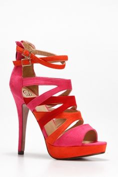 Strappy Open Toe Heels -- <3 the colors!!