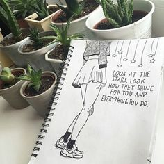 Journal inspiration - Fave song lyrics with drawing.