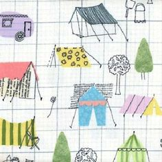 Flannel Camping Camp Tents on Grid Cotton Fabric