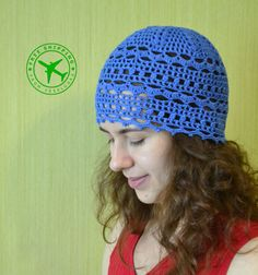 f2f7a392c79 Items similar to SALE Crochet Hat For Yoga Pilates Gym Sport - Blue Women s Beanie  Hat - Retro Summer Crochet Cotton Hat - ItWasYarn Lacy Hat For Women Gift  ...