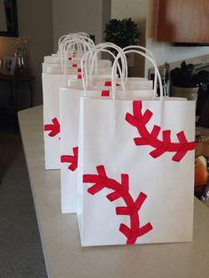 Baseball gift bags Boys 1st Birthday Party Ideas, Baseball Birthday Party, 1st Boy Birthday, Baseball Gifts, Baseball Season, Baseball Mom, Volleyball Party, Indians Game, Baseball Tournament