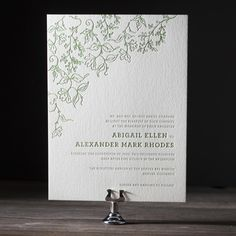 "whimsical green ""Pastoral"" letterpress invitation"