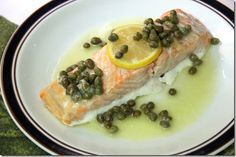 Baked Salmon with Lemon Butter Caper Sauce