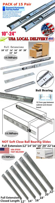 "10 Sets 24/"" Inch Soft Close Full Extension 100 lb lbs Ball Bearing Drawer Slides"