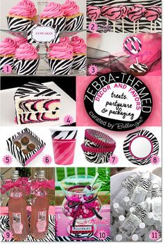 Zebra Themed Baby Shower Ideas! See the Party Planning Guide: Featuring Zebra Pink and Black Party Decorations, Sweet Treats, and Party Favors. #zebratheme #babyshowers