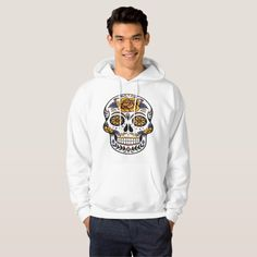Rose Mexican Sugar Skull Day of the Dead Hoodie #halloween #holiday #creepyclothing #fashion #mensclothing